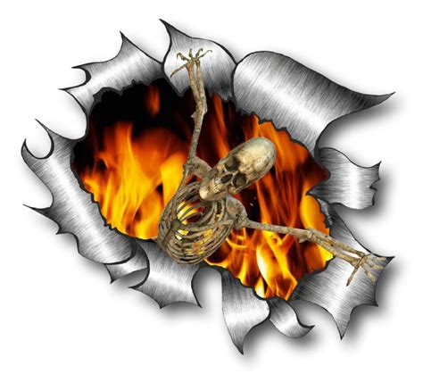 Torn Skeleton ripped torn metal design with skeleton on motif
