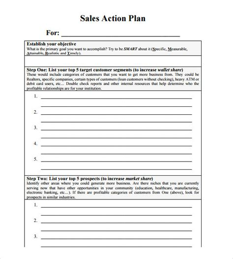 11 Sales Action Plan Sles Sle Templates Exle Of Sales Plan Template
