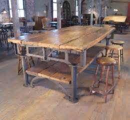 Industrial Dining Room Tables Vintage Industrial Cast Iron And Wood Display Work Bench Conference Dining Table At 1stdibs