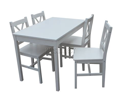 foxhunter solid wooden dining table with 4 chairs set