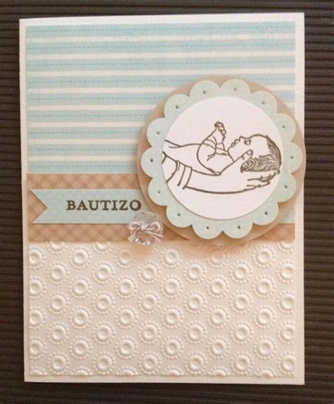 baptism handmade embossed card for baby boy by