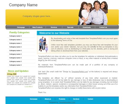 Free Family Web Template Templates Perfect Free Family Website Templates