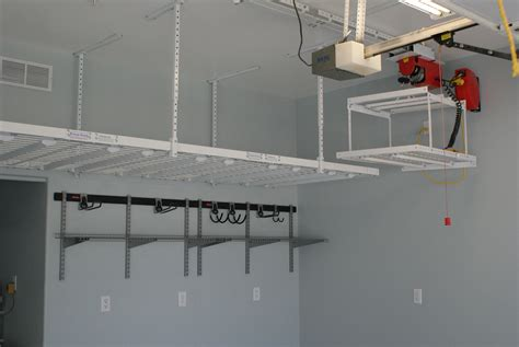 custom diy overhead garage storage shelves with lift for small garage spaces with high ceiling ideas