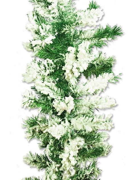 flocked antarctic thick pine branch garland with snow 2