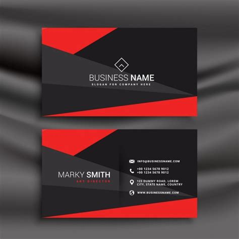 black and red business card template with polygonal shapes