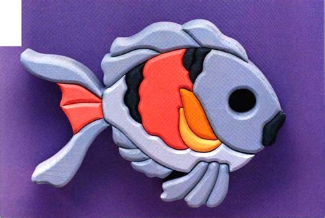 pink blue fish scroll  woodworking archive