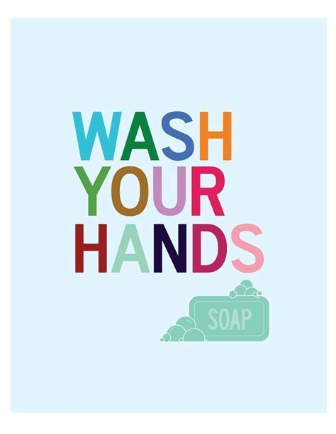 wash your hands bathroom wall art print washroom decor