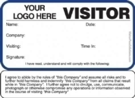 visitor pass template sign in books with badges visitor agreement visitor badges