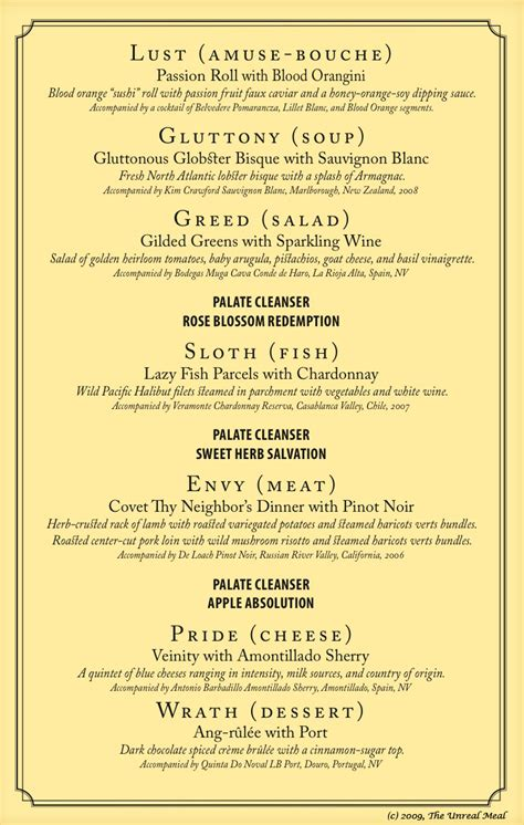 5 course meal menu template ooooh this would be a idea 7 deadly sins 7 course