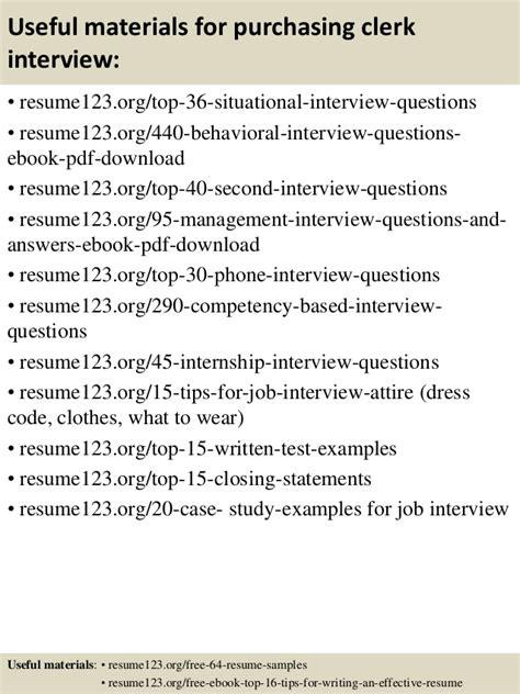 top 8 purchasing clerk resume sles