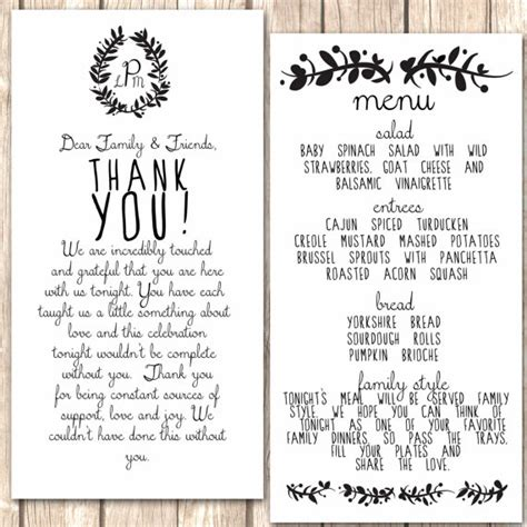 thank you letter for business dinner invitation items similar to whimsical menu and thank you card for