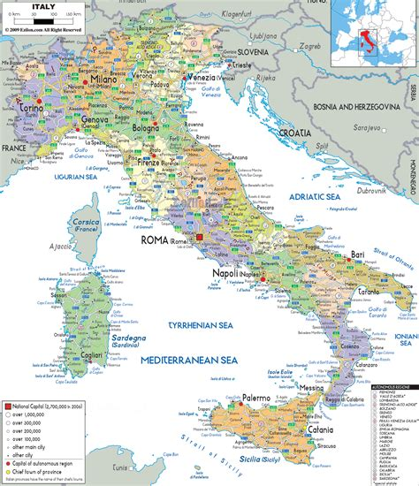 map of all cities large detailed political and administrative map of italy