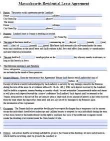 free massachusetts standard residential lease agreement