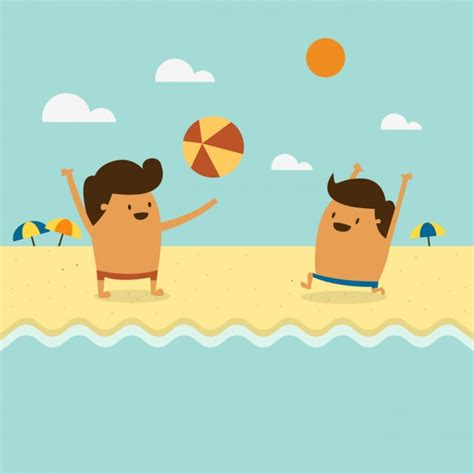 imagenes de niños jugando en la playa dos ni 241 os jugando en la playa descargar vectores gratis