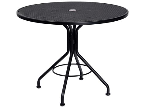 bistro table with umbrella hole woodard mesh wrought iron 36 round bistro table with