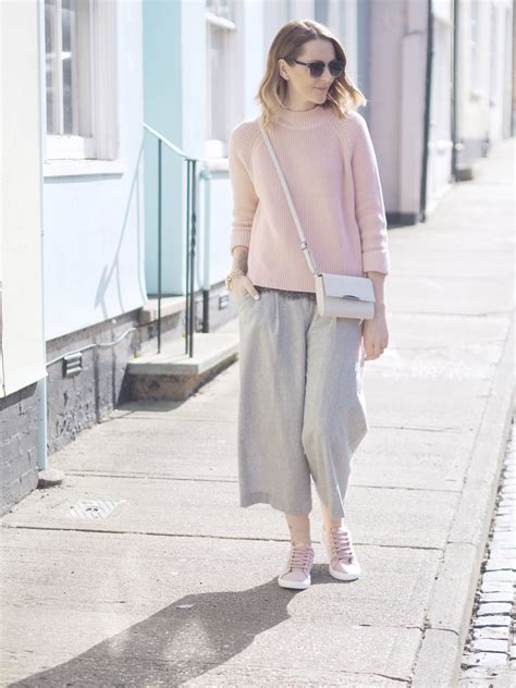 pink grey casual outfit bang  style