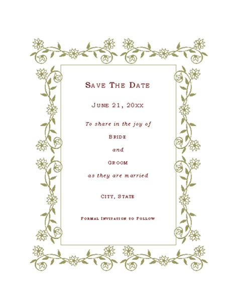 Free Date Card Templates by Free Printable Invitations Of Save The Date Card