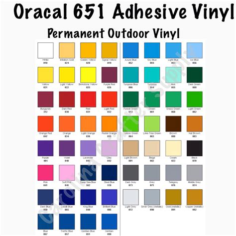 oracal 651 vinyl color chart oracal 651 12x24 sheets adhesive vinyl your color