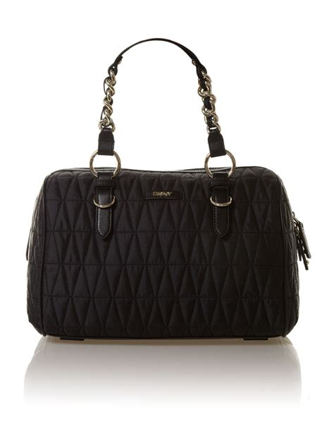 Quilted Black Purse by Dkny Quilted Black Bowling Bag In Black Lyst