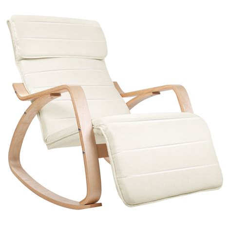 Rocking Recliner Armchair Adjustable Bentwood Rocking Armchair Beige Lounge Chair