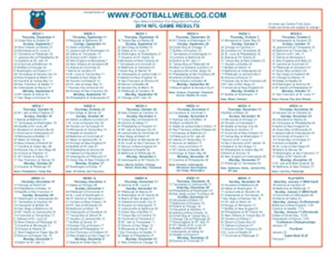 printable nfl schedule one page image gallery nfl schedule printable