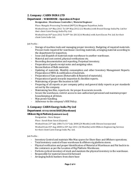 Sle Resume For Store Keeper Rig Store Keeper Resume
