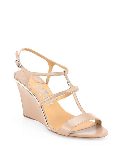 blush colored sandals ferragamo pakuna leather wedge sandals in pink lyst