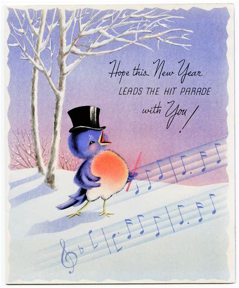 winsch birds new year postcard design shop happy singing bird vintage new year card design shop