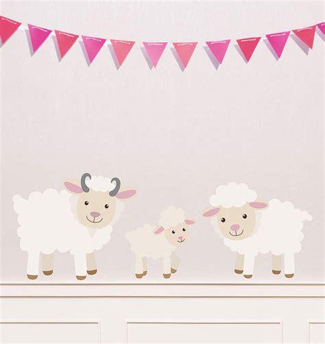 Wall Sticker White Sheep children s sheep wall sticker set by oakdene designs notonthehighstreet