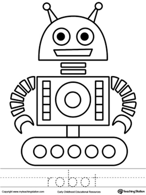 preschool robot coloring pages cat coloring page and word tracing myteachingstation com