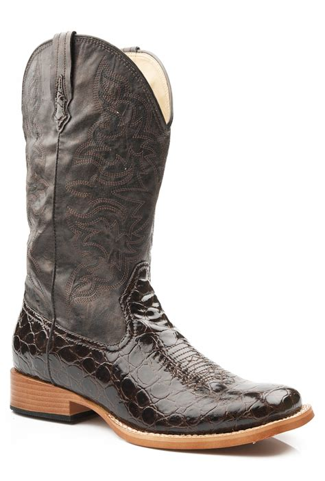 roper womens square toe brown faux crocodile leather