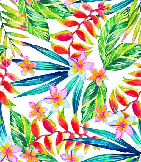 watercolor tropical pattern tropical pattern vivid flowers in watercolor stock