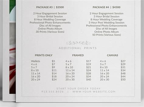 pricing guide photoshop template design photography price sheet