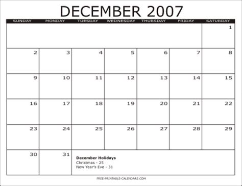 December 2007 Calendar Image Gallery December 2007 Calendar
