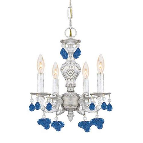 Antique White Wrought Iron Small Chandelier With Murano Crystals White Iron Chandelier Bellacor