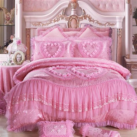 Bed Cover Wedding 2 4 6 8pcs princess lace luxury bedding set king size pink jacquard wedding bed cover