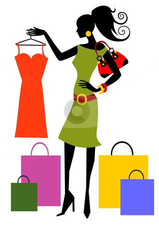 women shopping clipart