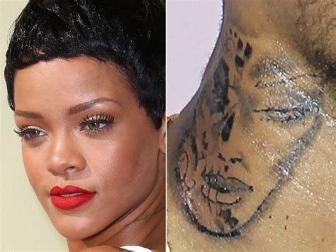 rihanna new tattoo is chris brown s new supposed to be a battered