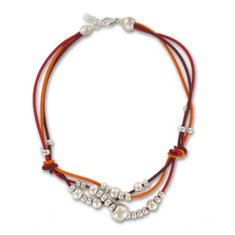 bead elastic cord flaming interlaced necklace with elastic cord and flat