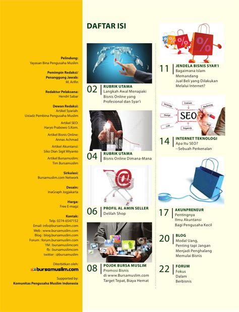 contoh layout daftar isi majalah majalah digital bursamuslim com