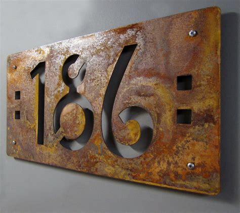 Handmade House Numbers - custom mission style house numbers in rusted steel
