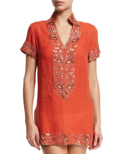beaded cover up florabella viceroy beaded linen coverup tunic in