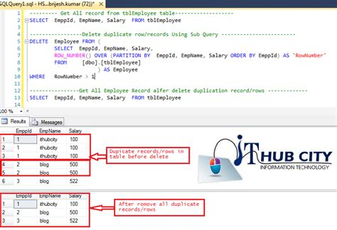 sql server delete remove duplicate record or rows from