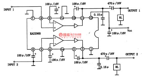 integrated circuit for lifier ka2206b 2w stereo audio power lifier integrated circuit diagram lifier circuit circuit