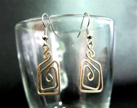 Handmade Jewelry Thailand - bronze dangle earrings coil square fashion designs