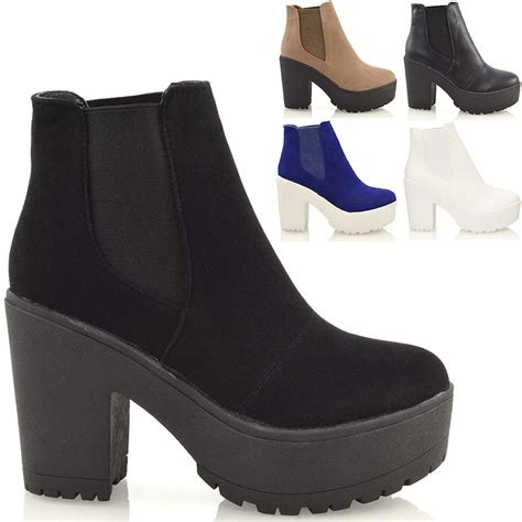 womens biker boots with heels chunky cleated sole platform womens block heel