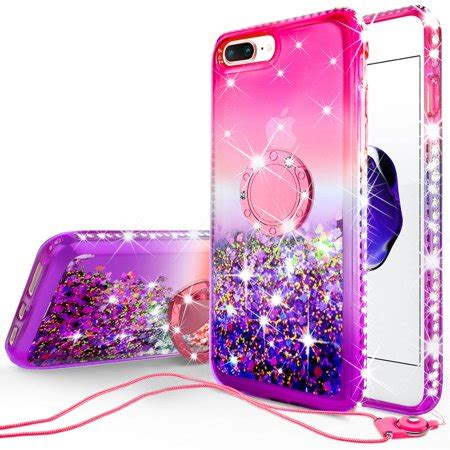 apple iphone  plusiphone   case girls women bling liquid glitter phone case ring