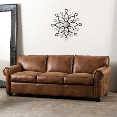bomber leather sofa rexford bomber brown blended leather sofa midcentury sofas