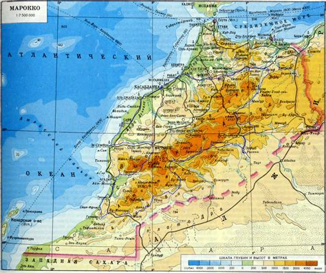 physical map of morocco marokko physik karte