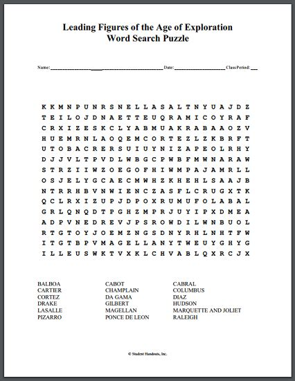Free Search With Age Leading Figures Of The Age Of Exploration Word Search Puzzle Student Handouts
